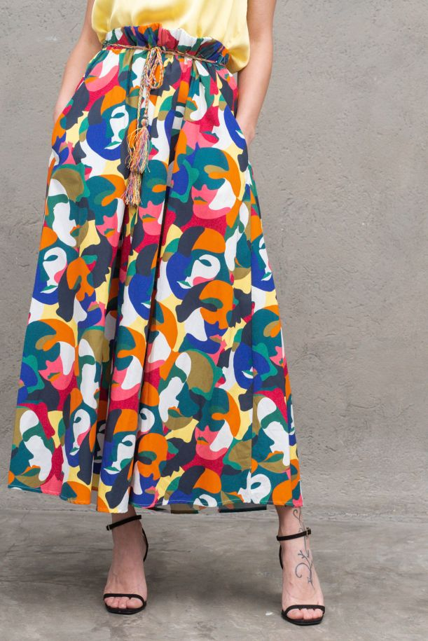 Women's fancy long skirt with waist rope. G629MULTICOLOR
