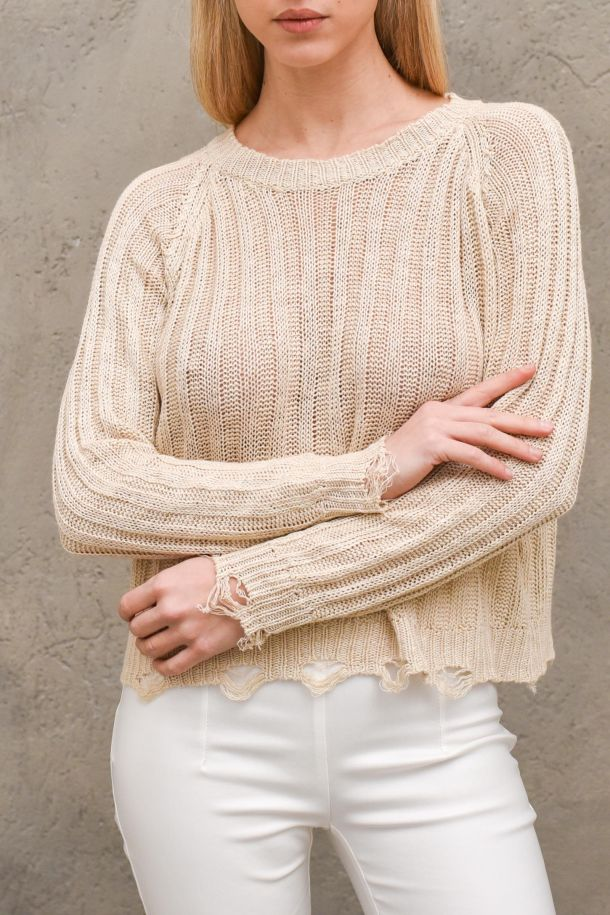 Women's stretched knitted sweater almond. L20505ALMOND