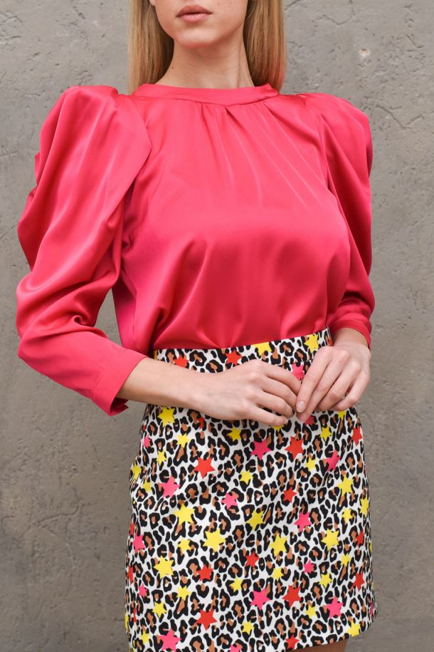 Women's tunic shirt puff sleeves fucsia. SJ806FUCSIA