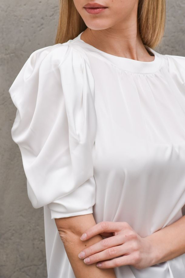 Women's tunic shirt puff sleeves white. SJ806OFF WHITE