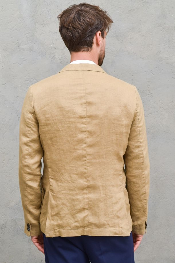 Men's linen jacket with pockets camel. 1995SC NEVIOCAMMELLO