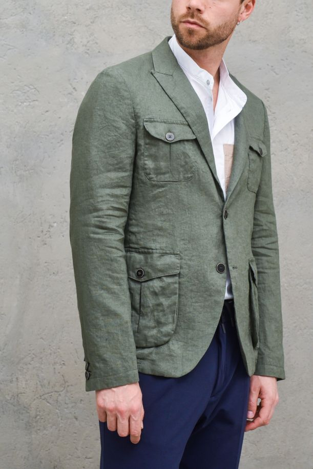 Men's linen jacket with pockets green. 1995SC NEVIOMILITARE