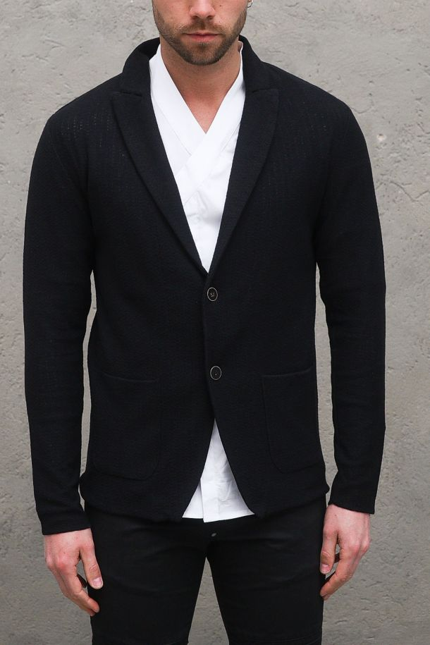 Men's knitted jacket wooden buttons black. BG04NERO