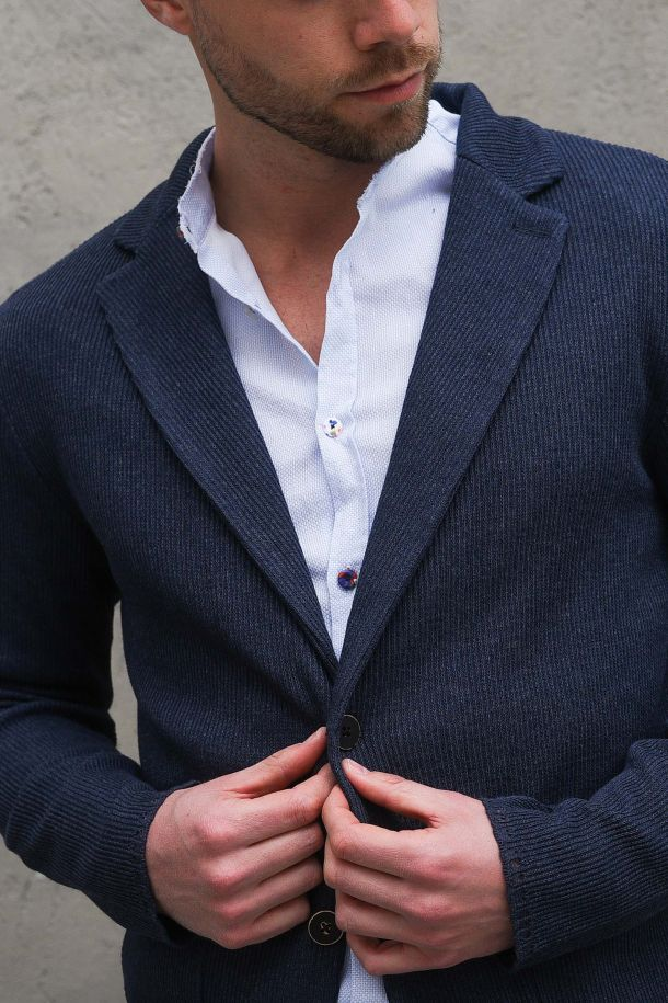 Men's knitted jacket denim blue. CUBG05DENIM