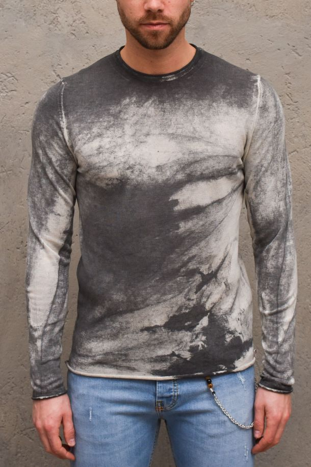 Men's raw cut washed sweater charcoal. CULM65CARBONE