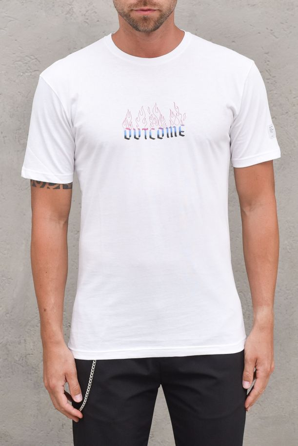 Men's t-shirt front back side stamp fear and fire white. PL1532BIANCO