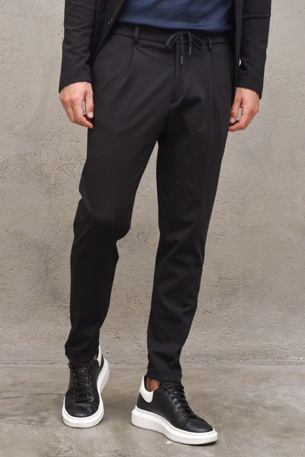 Men's trousers with lace and pinces black. OF1S2S1P026/101BLACK