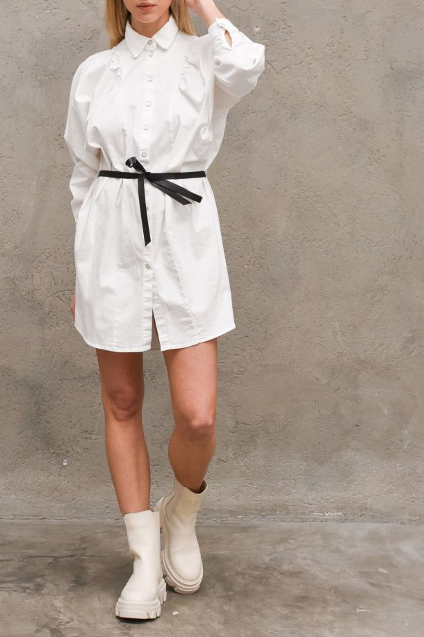 Women's long shirt with belt white. C0MURS7N3NBIANCO GREZZO