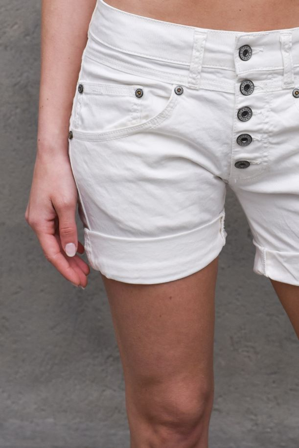 Women's visibile buttons shorts white. D10OCV9M07BIANCO