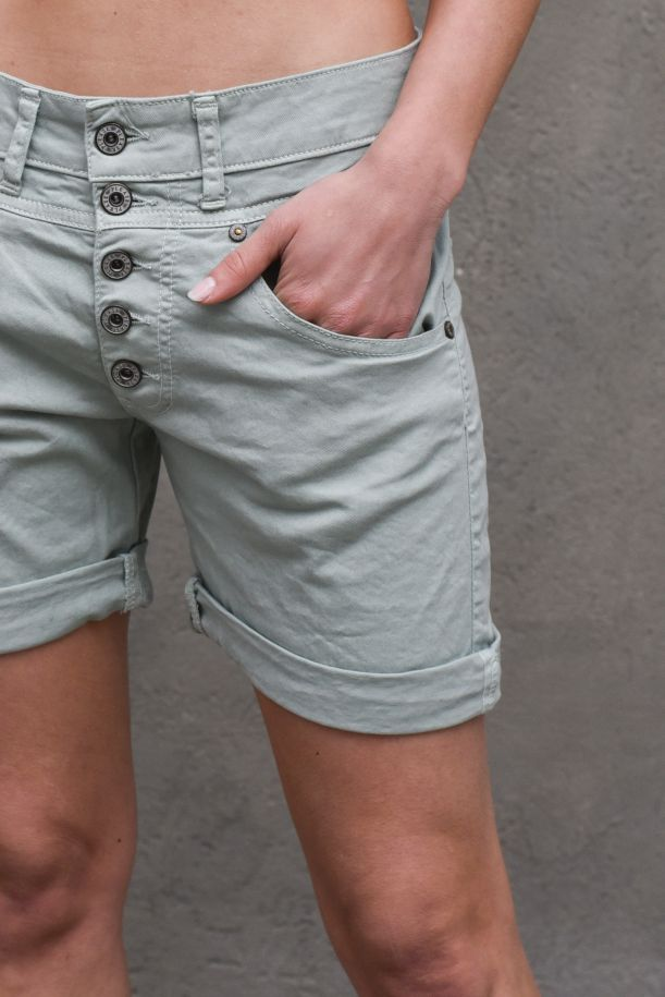 Women's visible buttons shorts sage. D10OCV9M07SALVIA