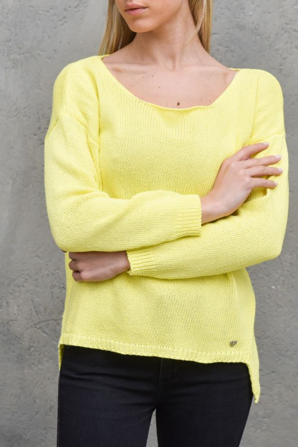 Women's boat neck worked lime. M49775051LIMONE