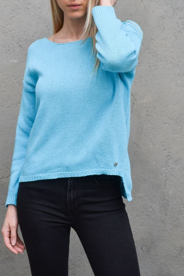 Women's boat neck worked turquoise. M49775051TURCHESE