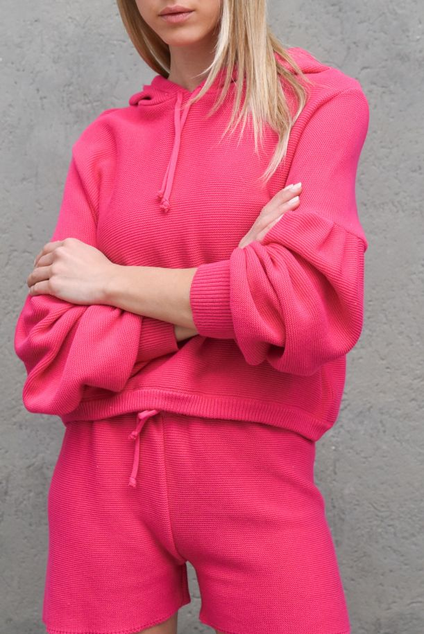 Women's hooded sweater fuxia. M72533013GUAVA ROSA