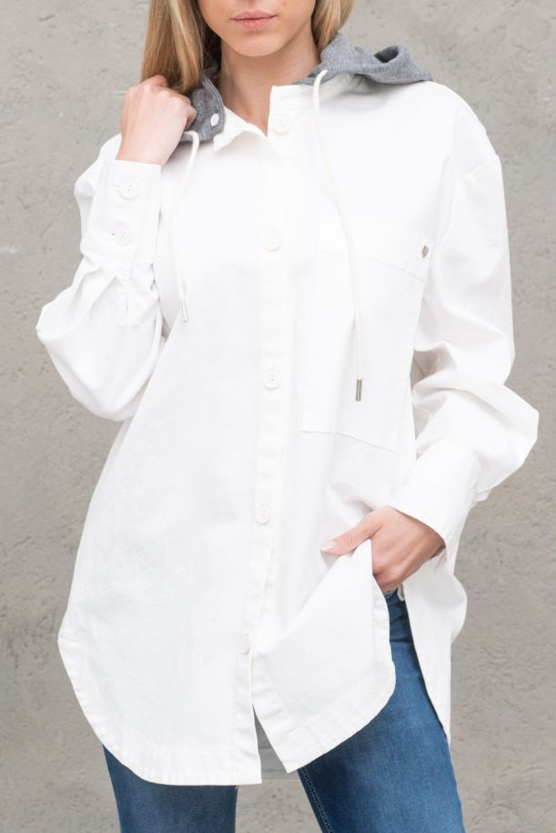 Women's over shirt with hoody and pockets white. V0DDCV9N3NBIANCO