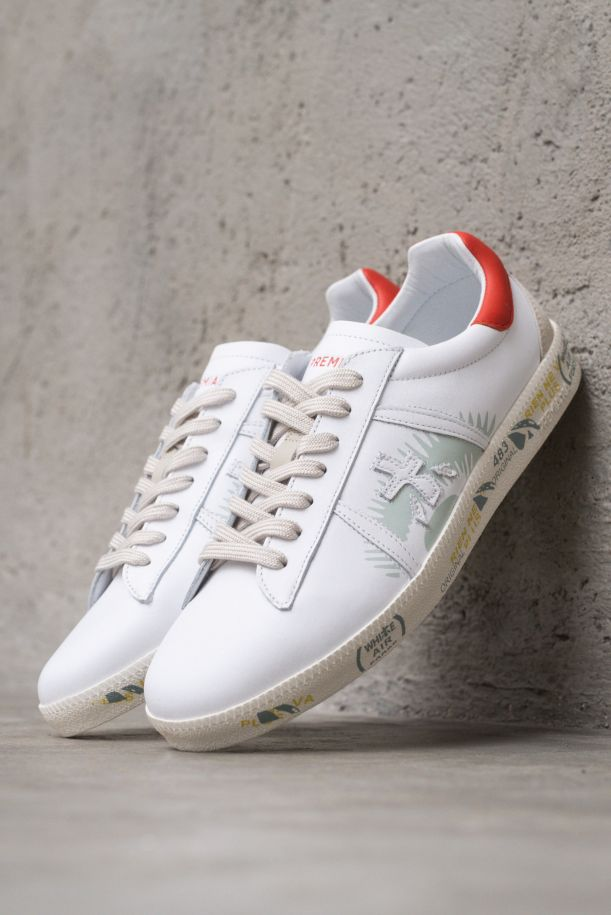 Men's sneaker shoes with logo white red. ANDY5144BIANCO/ROSSO
