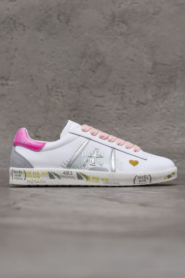 Women's sneaker shoes with logo white pink. ANDYD3903BIANCO/ROSA