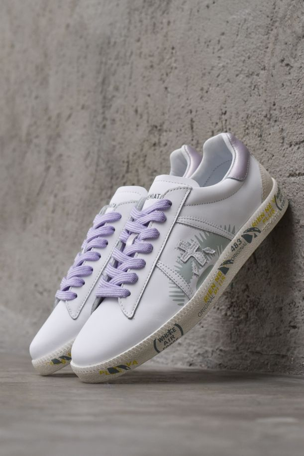 Women's sneaker shoes with logo whiteLilla. ANDYD5139BIANCO/LILLA