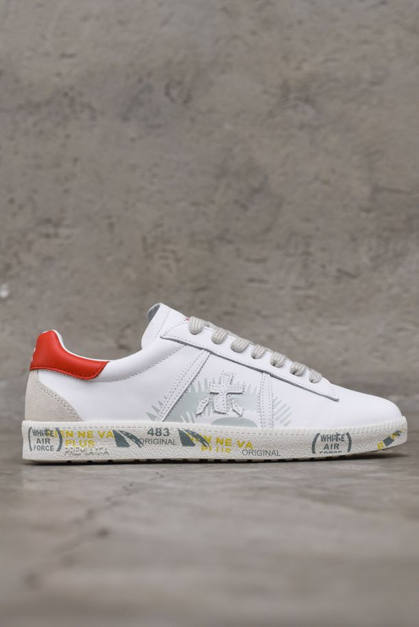 Women's sneaker shoes with logo white red. ANDYD5144BIANCO/ROSSO