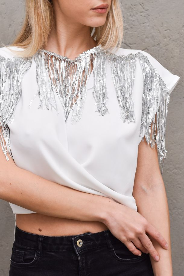 Women's short blouse with fringes white. RCP2103009012BIANCO/ARGENTO