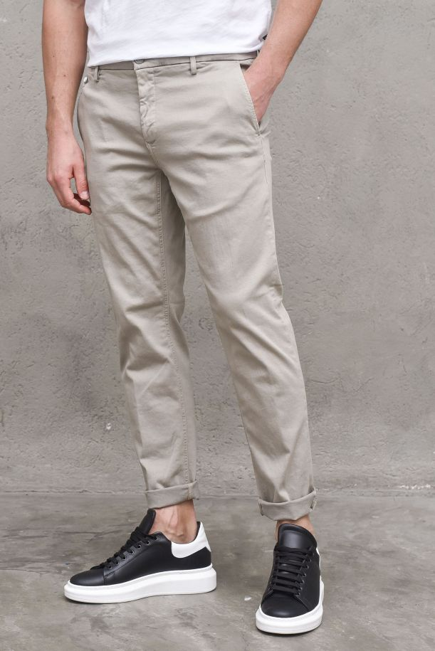 Men's jeans trousers welt pocket beige. BENNIM9722A.000.8366197BEIGE