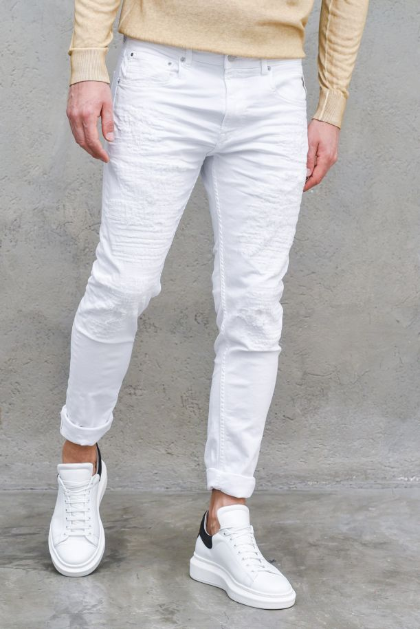 Men's denim abrasive jeans white. JOHNFRUS 800053R5BIANCO