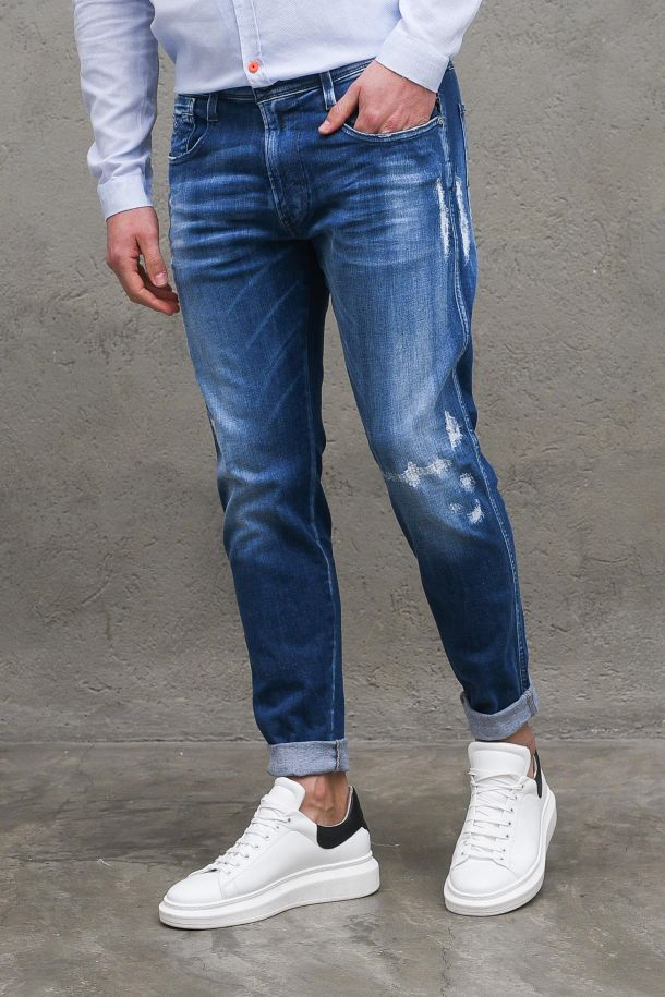 Men's trousers jeans with abrasions blue. MA934227 806DENIM SCURO