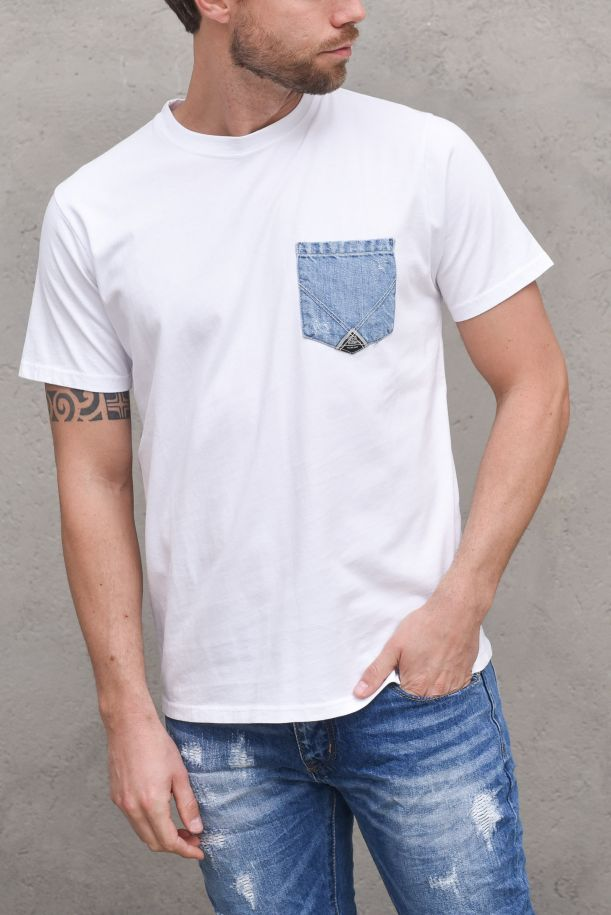 Men's jersey t-shirt jeans pocket white. POCKET DENIMP21RRU511C7480000BIANCO