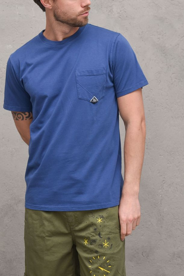 Men's jersey t-shirt with pocket and logo navy. POCKET HEAVYP21RRU500C9320306FRENCH NAVY