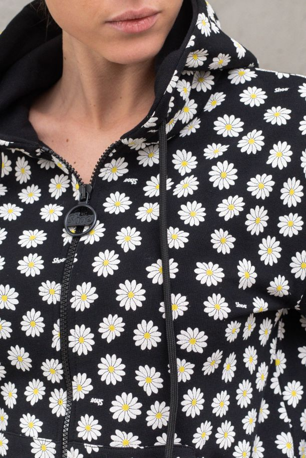 Women's hooded sweater with daisies black. S21SUZA04DAISY BLACK