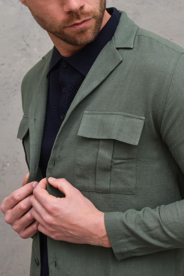 Men's military jacket with pockets green. SH019806