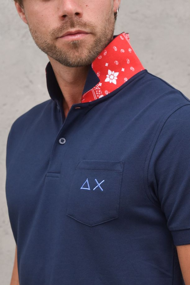 Men's polo packet and logo with patchworks navy blue. A31109NAVY BLUE