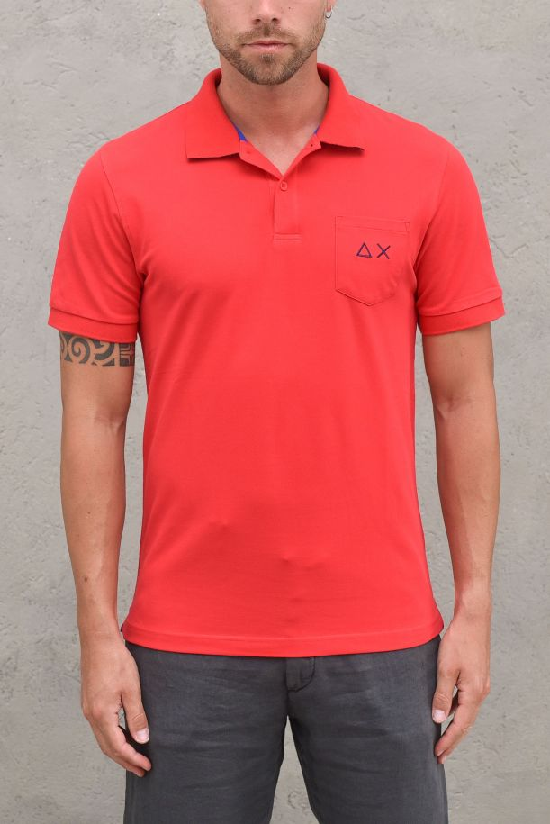 Men's polo packet and logo with patchworks red. A31109ROSSO FUOCO
