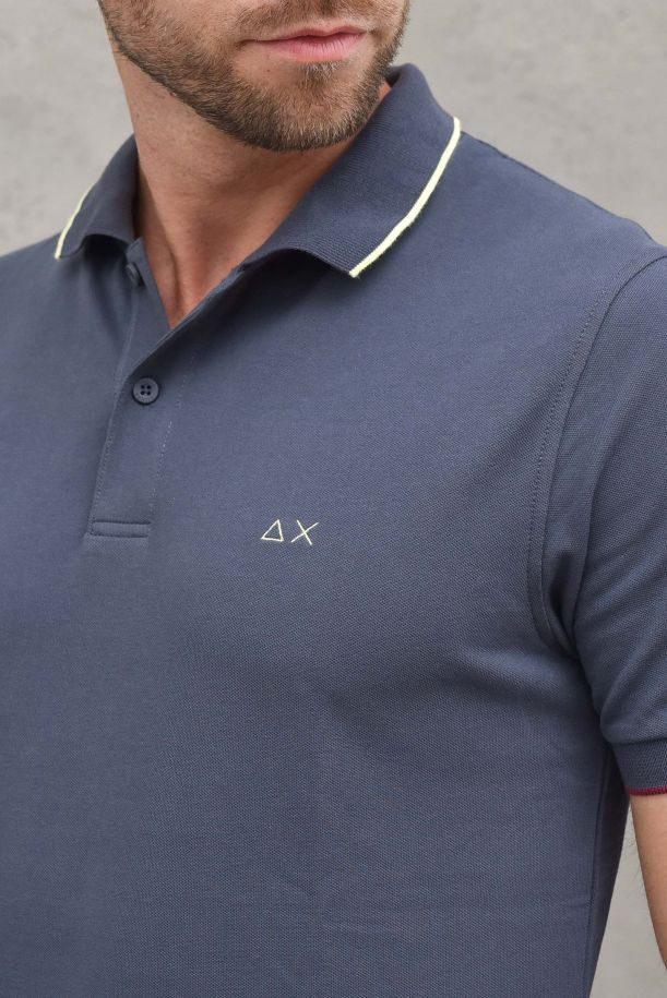 Men's polo small stripes with logo melange ink. A31110INCHIOSTRO