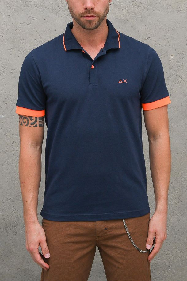 Men's small stripes fluo logo embroidered blue. A31118NAVY BLUE