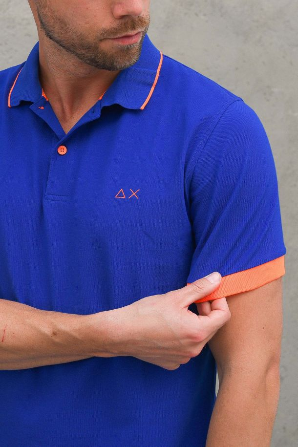 Men's polo embroidered logo with stripes royal blue. A31118ROYAL