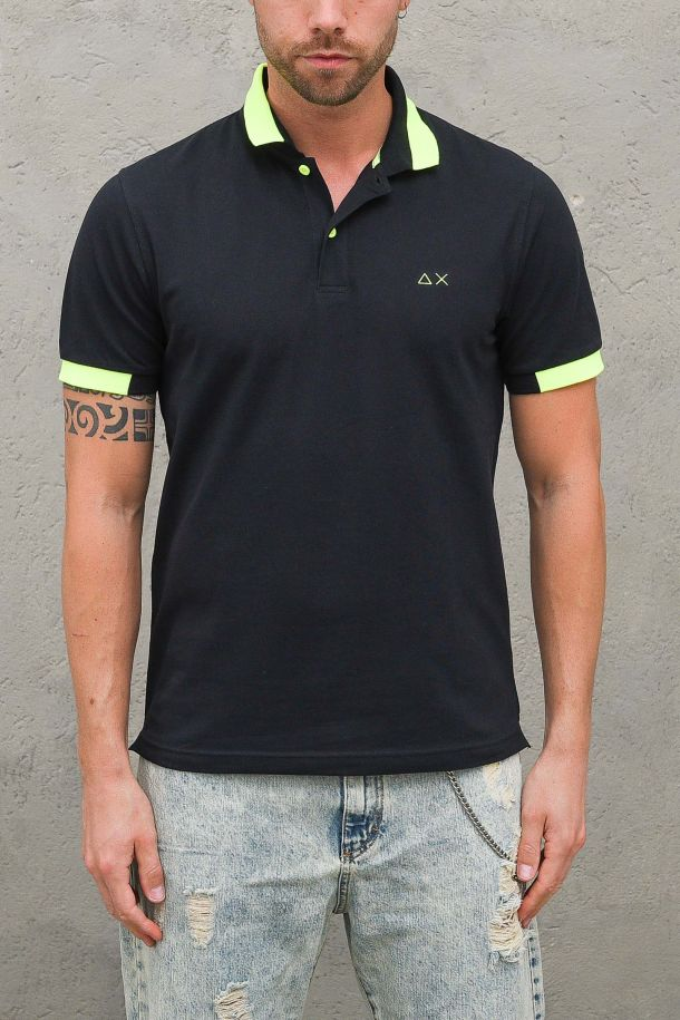Men's polo embroidered logo with stripes blue. A31119NAVY BLUE