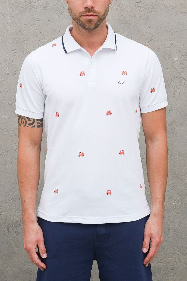 Men's embroidered polo crab white. A31126BIANCO