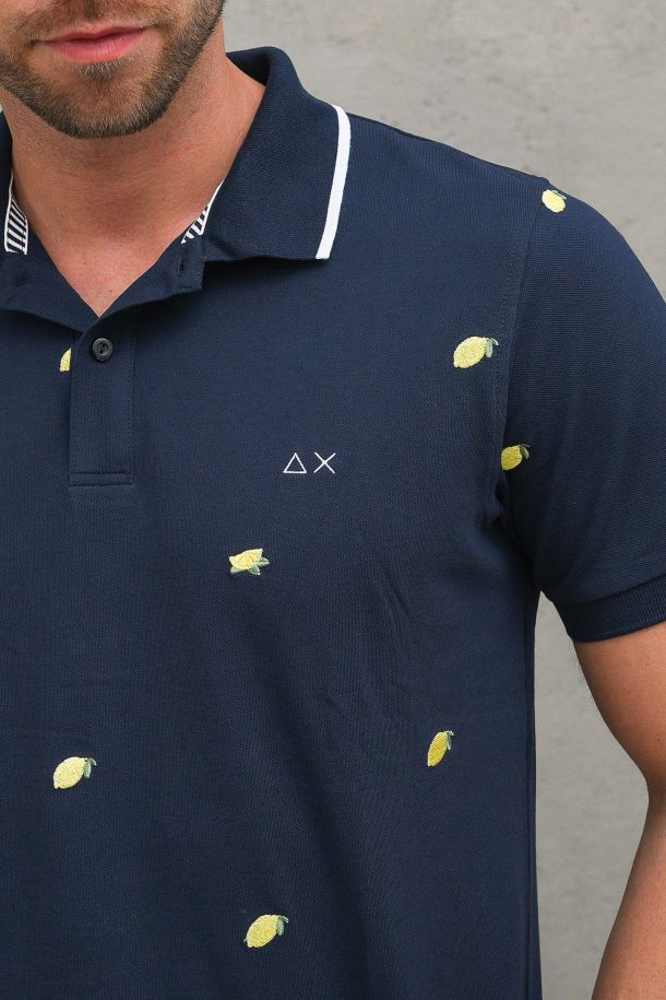 Men's embroidered polo with logo navy blue. A31126NAVY BLUE
