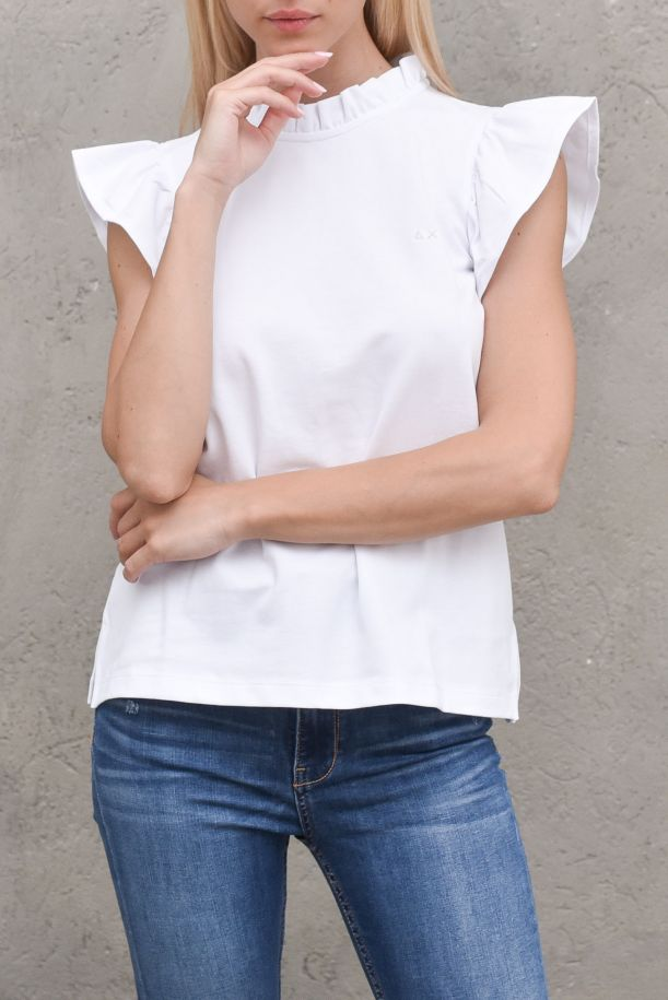 Women's rouches sweater white. A31208BIANCO