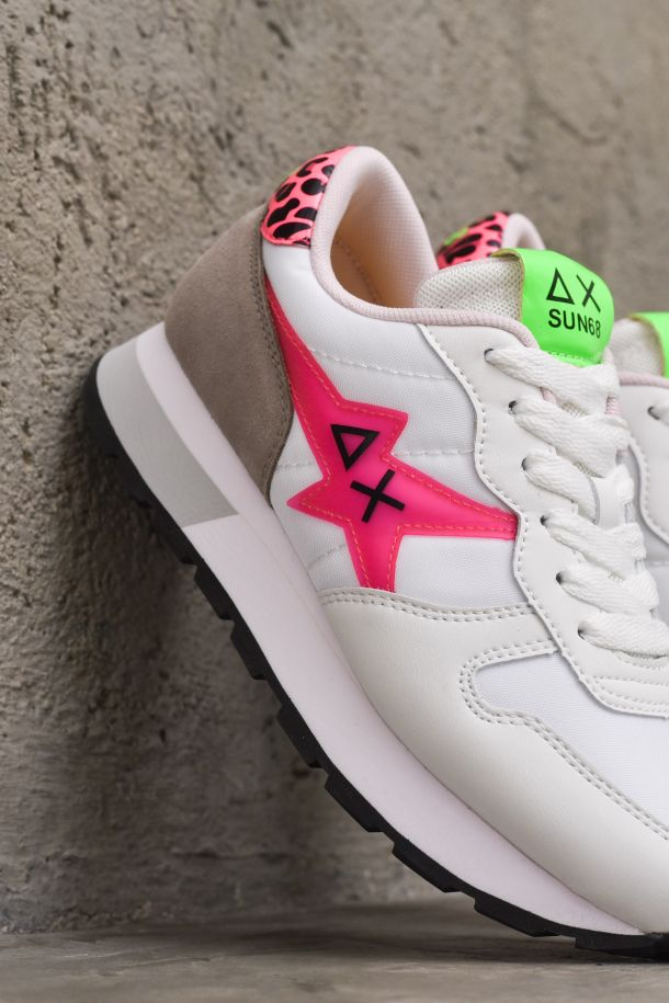 Women's running shoes adult Ally Star animalier white fuxia. Z311209BIANCO/FUXIA FLUO/MACULATO