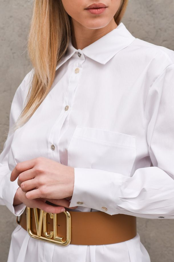 Women's long shirt rounded white. S21C217BIANCO