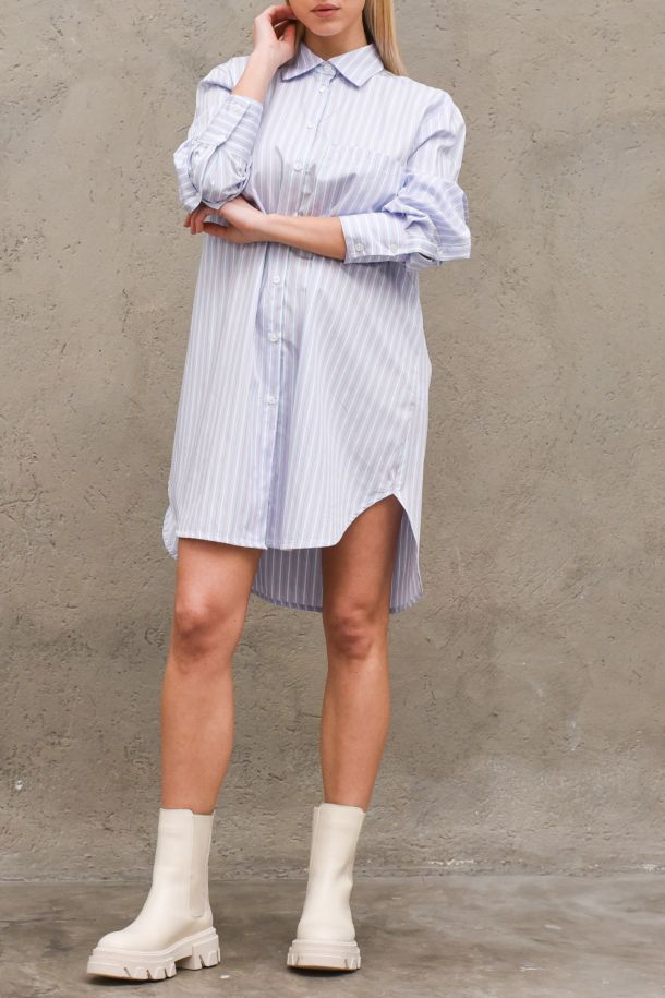 Women's long shirt vertical stripes light blue. S21C247CELESTE/BIANCO/ROSA