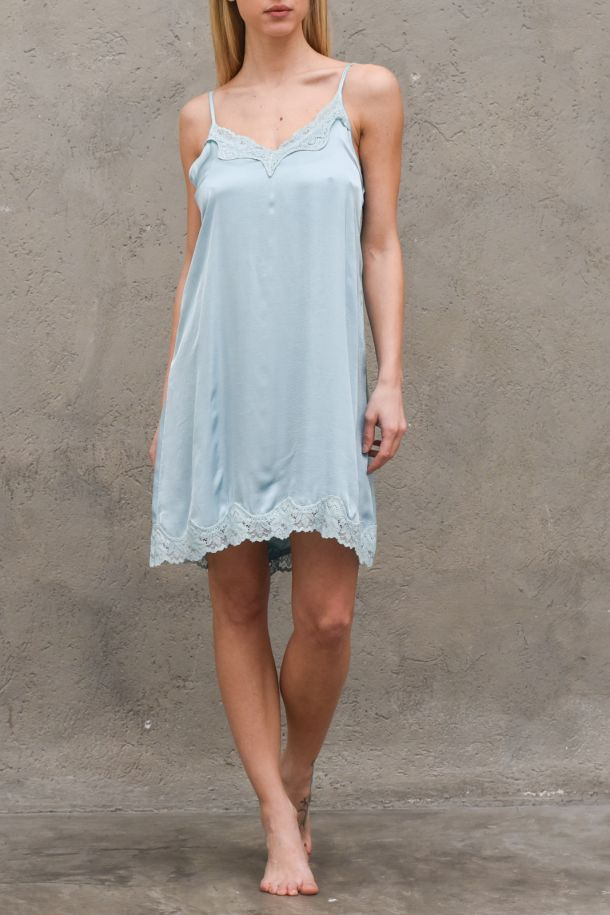 Women's slip dress with lace turquoise. S21T158TURCHESE