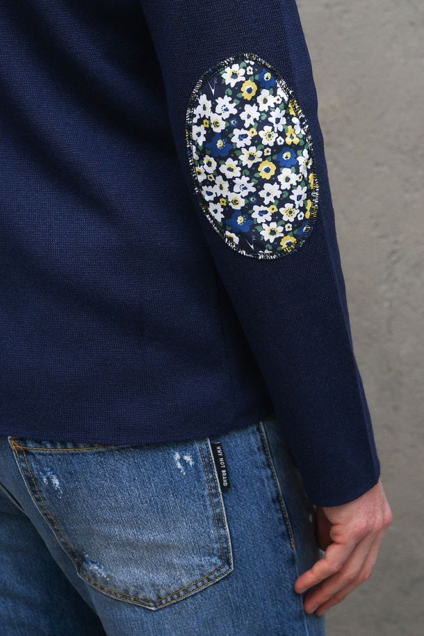 Men's jacket with floral applications blue. GUPINCTTBLU