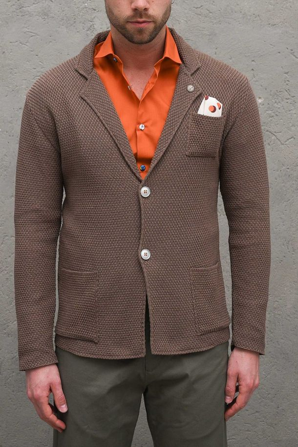 Men's jacket with pochette anh patckwork brown. GUPRISINCMORO