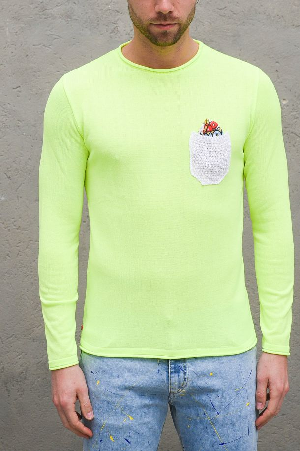 Men's sweater with pochette and pocket yellow fluo. MALGTPGIALLO FLUO