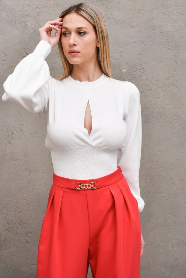 Women's elasticated waistband sweater white. 2010HBIANCO