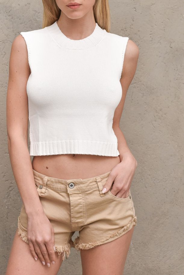 Women's tricot knitted top white. 5003HBIANCO