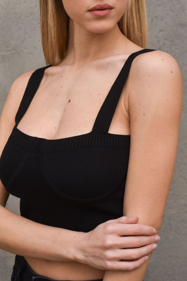 Women's knitted top straps shoulders black. 7014HNERO