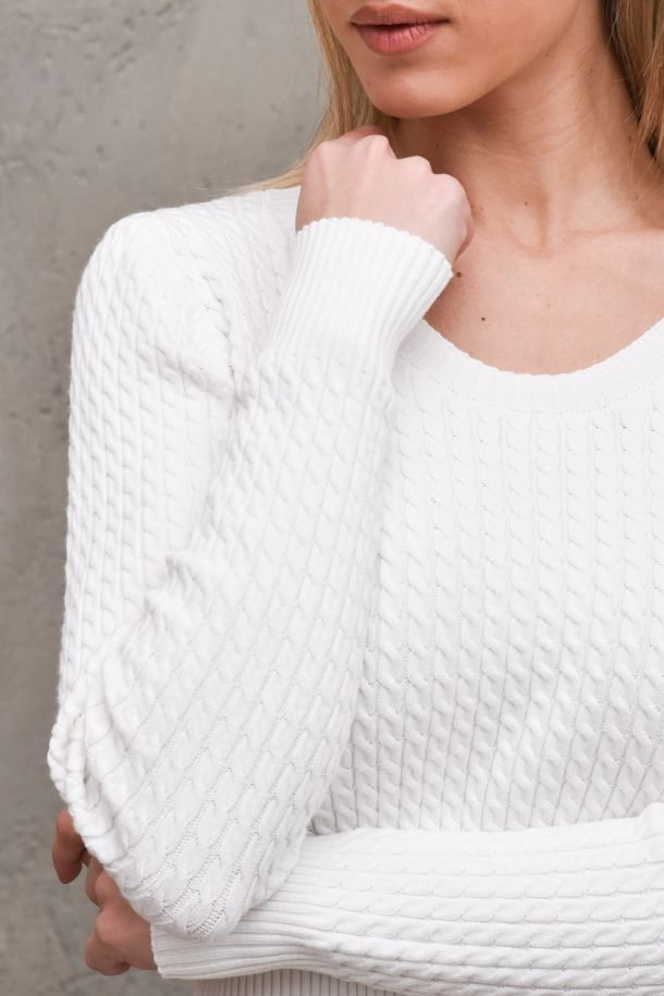 Women's V neck sweater worked white. 7019HBIANCO